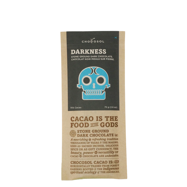 ChocoSol Darkness Stone Ground Dark Chocolate, 75 g, Front View | FarmOrganica