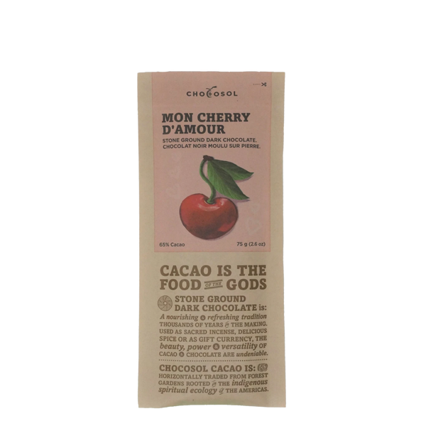 ChocoSol Mon Cherry D'Amour Stone Ground Dark Chocolate, 75 g, Front View | FarmOrganica