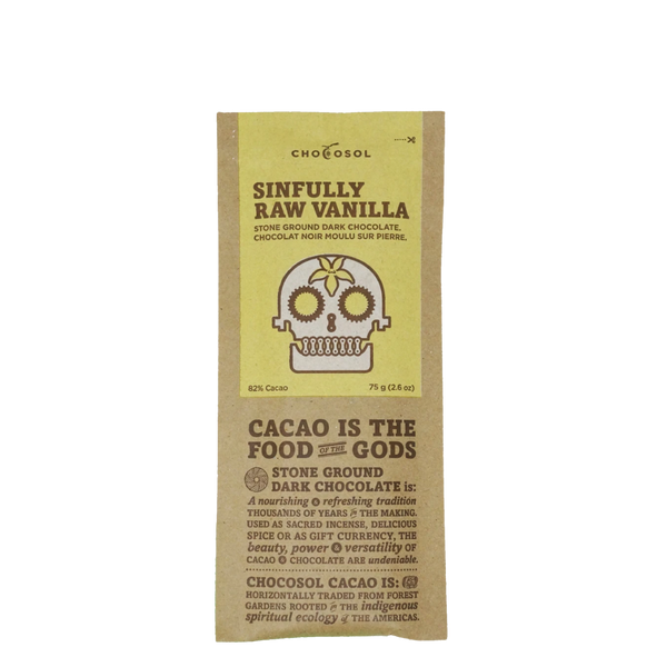ChocoSol Sinfully Raw Vanilla Stone Ground Dark Chocolate, 75 g, Front View | FarmOrganica