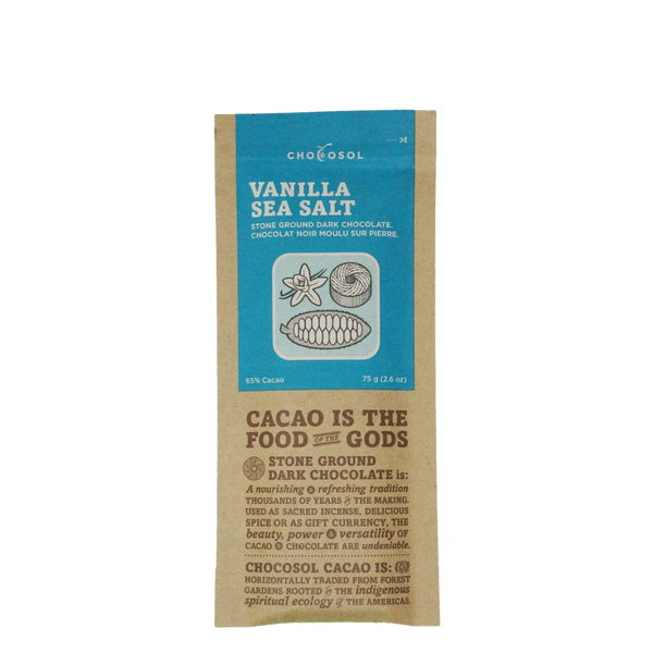 ChocoSol Vanilla Sea Salt Stone Ground Dark Chocolate, 75 g, Front View | FarmOrganica