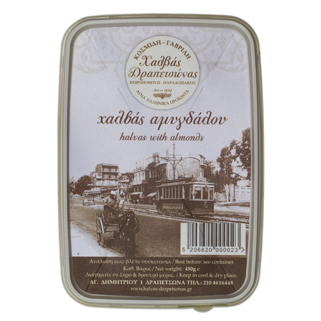 Halvas Drapetsonas Halva With Almonds, 450 g | FarmOrganica
