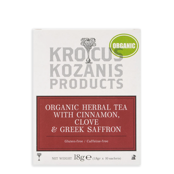 Krocus Kozanis Organic Herbal Tea with Cinnamon, Clove & Greek Saffron, 18 g | FarmOrganica