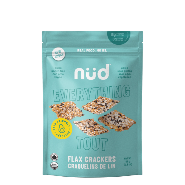 Nud Fud Snacks Keto 'Everything' Flax Crackers, 66 g | FarmOrganica