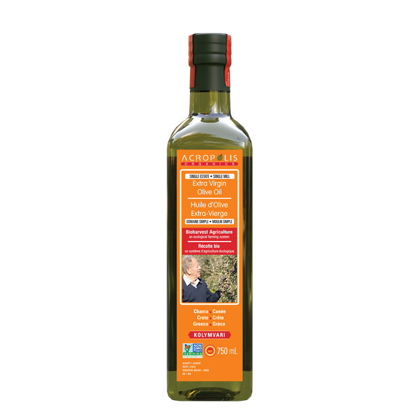 Acropolis Organics Bio-Harvest Farming Extra Virgin Olive Oil, 750 mL