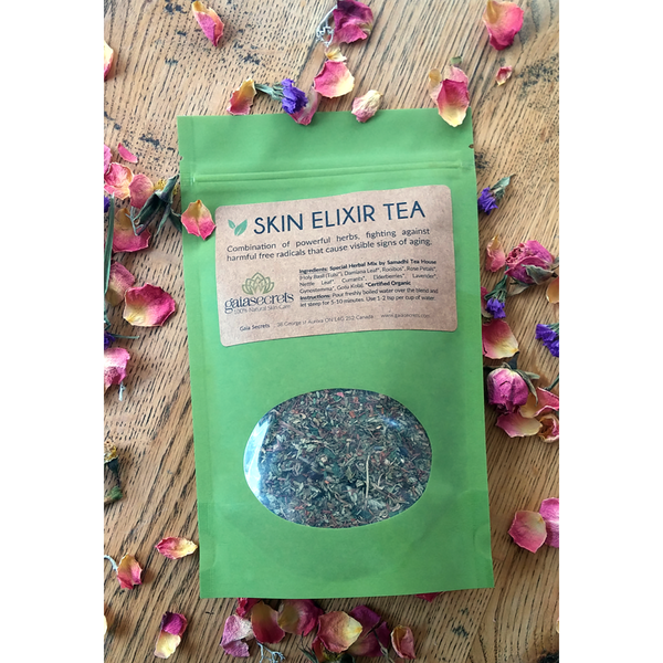 Gaia Secrets Skin Elixir: Non-Caffeinated Herbal Tea Blend - FarmOrganica