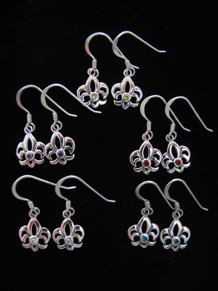 Birthstone Fleur de lis earrings