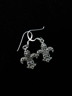 Black Swarovski Fleur de Lis Earrings