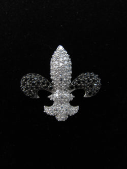 Black and White Swarovski Fleur de Lis