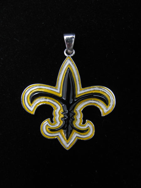 Black and gold Fleur de lis pendant