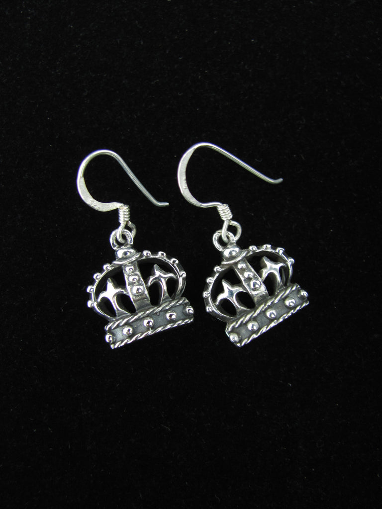 Crown Earrings (Oxidized)