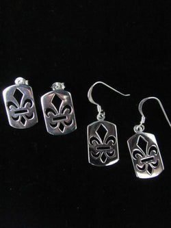 Fleur de Lis Dog Tag earrings