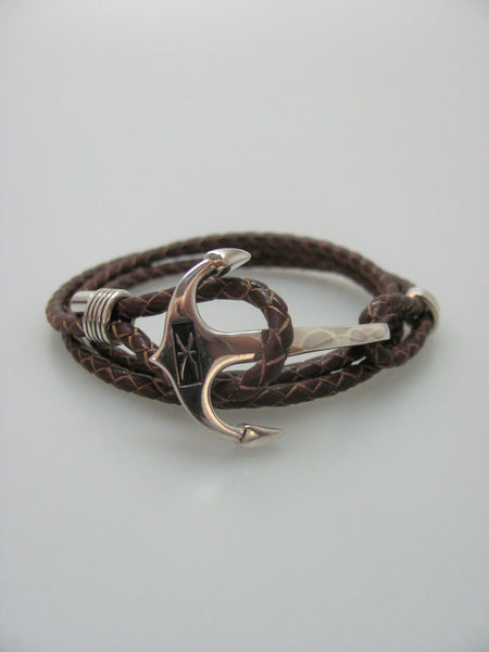 Anchor Loop Leather Bracelet