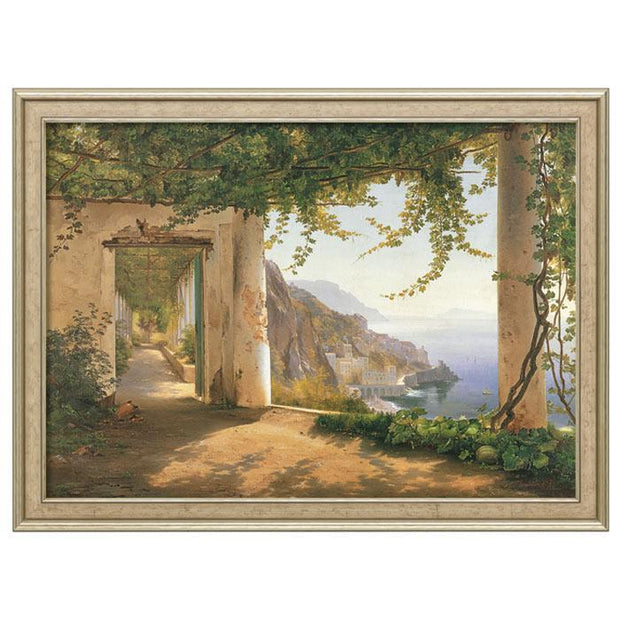 "Carl Frederic Aagaard: ""View to the Amalfi Coast"", gerahmt"