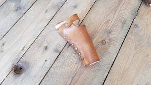 Sheath cartridge triple cannon belt made of natural leather. For pirates, steampunk, explorers and for cowboys and western revolvers