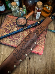 Ornated Magic Wand Holster or Sheath, made of high quality leather for hang your wand from your belt