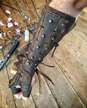 Load image into Gallery viewer, Apocalyptic Samurai Leather Bracers