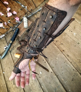 Apocalyptic Samurai Leather Bracers