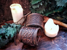 Load image into Gallery viewer, Celtic Knot Leather Cuff Bracelet