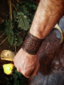 Celtic Knot Leather Cuff Bracelet