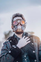Load image into Gallery viewer, Leather face mask Steampunk Mask leather diesel punk wasteland burning man respirator Dystopian armor larp