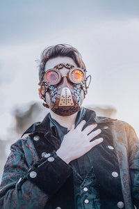 Leather face mask Steampunk Mask leather diesel punk wasteland burning man respirator Dystopian armor larp