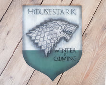 Load image into Gallery viewer, House Stark Game of Thrones Banner wood sign.