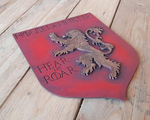 Lannister House, Banner wood sign of Game of Thrones.