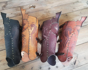 Celtic Leather Greaves.