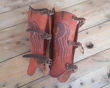 Load image into Gallery viewer, Celtic Leather Greaves.
