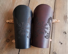 Load image into Gallery viewer, Drakkar and Vegvisir symbol Viking leather vambrace.