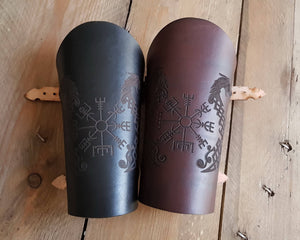 Drakkar and Vegvisir symbol Viking leather vambrace.