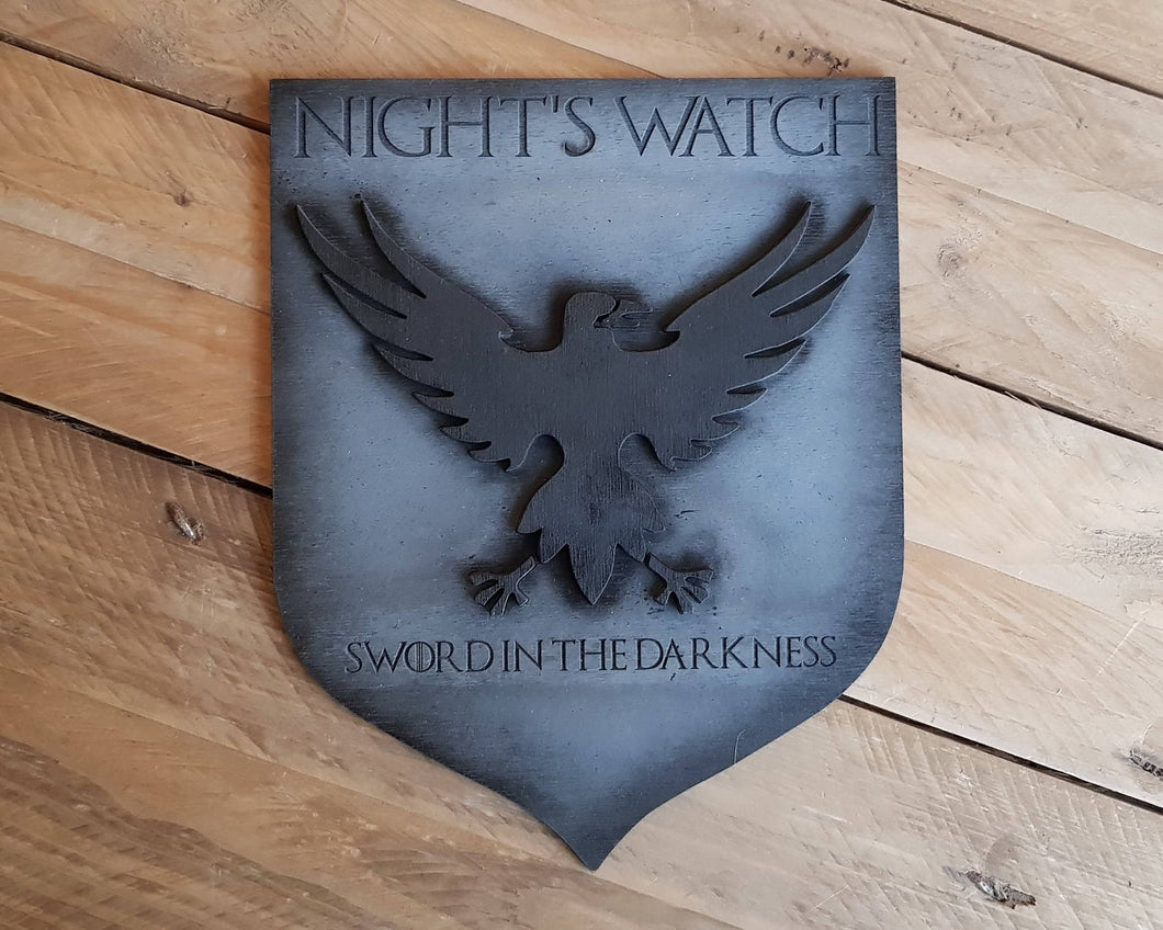 Night Watch, Banner wood sign of Game of Thrones.