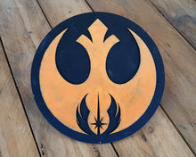 Load image into Gallery viewer, STAR WARS JEDI order Rebel Alliance logo. Wood Sign.