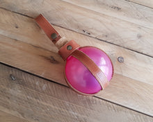 Load image into Gallery viewer, Pink Potion Bottle with Leather Holder.