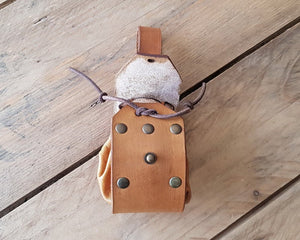 Leather bag coin or jewel pouch.