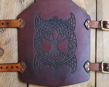 Load image into Gallery viewer, Yggdrasil Viking leather Bracer.