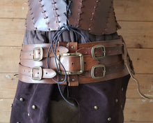 Load image into Gallery viewer, Shieldmaiden viking Leather belt and tassets.