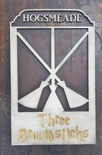 Load image into Gallery viewer, Three Broomsticks Wood Sign.