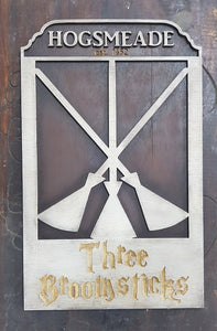 Three Broomsticks Wood Sign.
