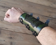 Load image into Gallery viewer, Slytherin Leather Bracer.