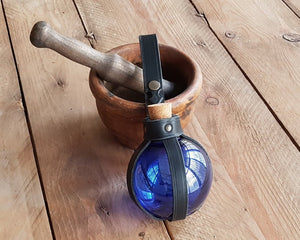Blue Potion Bottle with Leather Holder Potion.