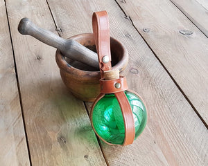 Green Potion Bottle with Leather Holder Potion.