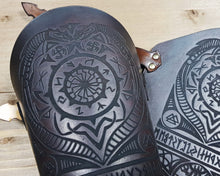 Load image into Gallery viewer, Black Sun and Vegvisir symbol Viking leather vambrace.