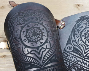 Black Sun and Vegvisir symbol Viking leather vambrace.