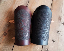 Load image into Gallery viewer, Celtic horse engraved leather vambrace.