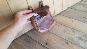 Leather Dwarf Face pouch.