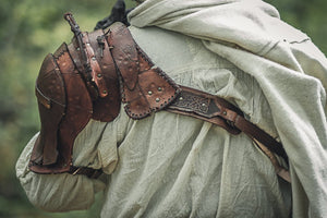 Barbarian Viking Leather Shoulder armor set.