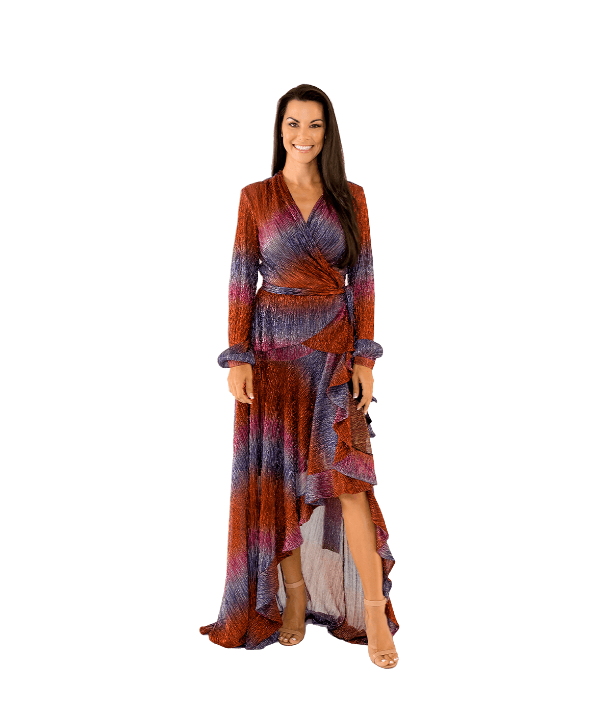 Rainbow Lurex Wrap Top and Maxi Skirt Ensemble - Lady Jetset