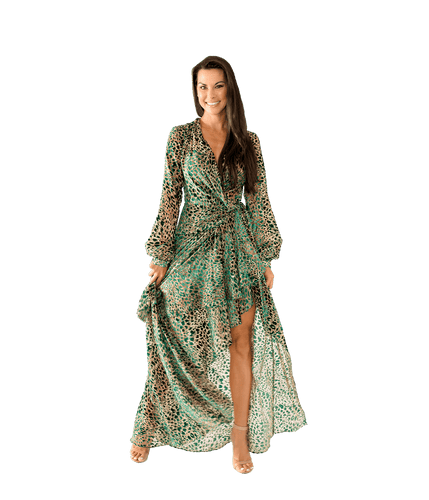 Burnout Velvet Maxi Wrap Dress - Lady Jetset