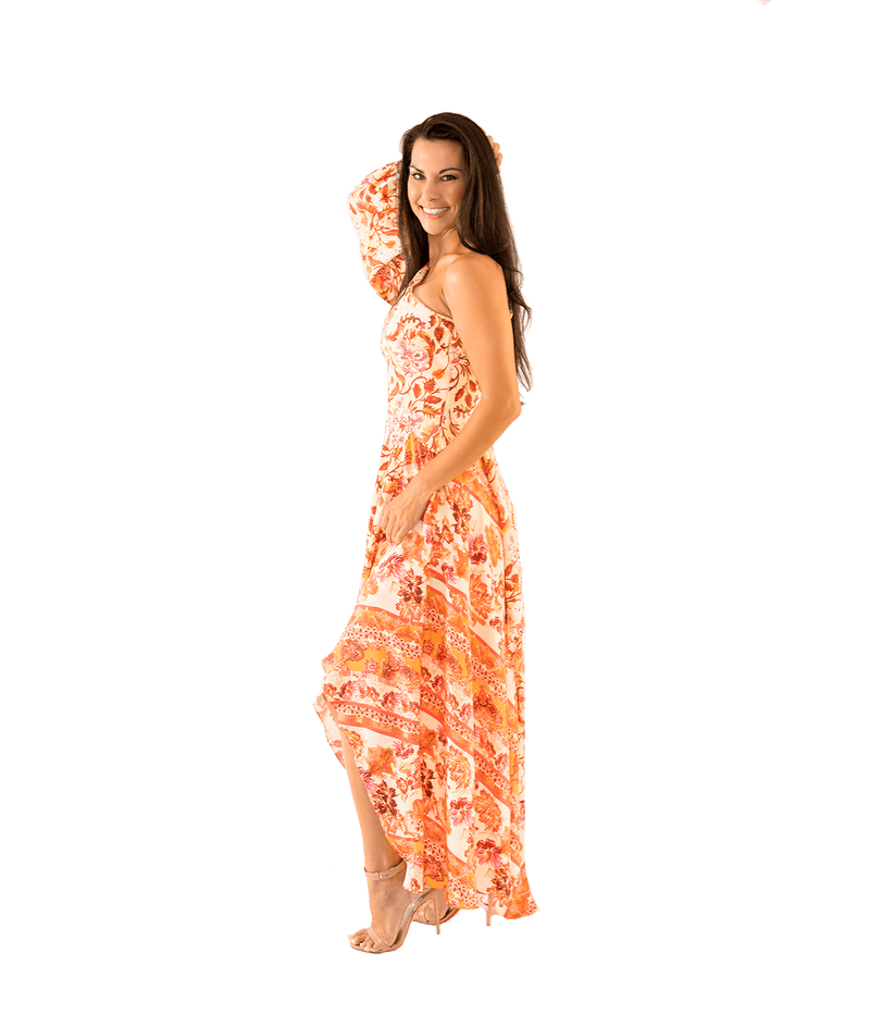 Piper Floral One Sleeve Draped Gown - Lady Jetset